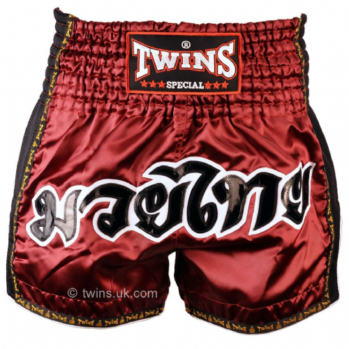Twins TWS918 Burgundy Retro Muay Thai Shorts